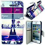 Tower and Setting Sun Pattern with Card Bag Full Body Case for iPhone 5/5S