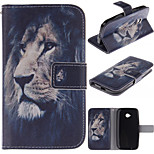 The Lion Face Design PU Leather Full Body Protective Case with Stand Motorola Moto E2