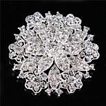 Vintage Women Clear Crystal Rhinestone Diamond Leaf Wedding Brooch