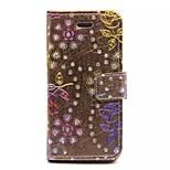 diamante rosa cartão de padrões carteira de couro pu caso de corpo inteiro para iphone 6 (cores sortidas)