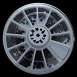 W102 300pcs/Set Bow Heart Star Shape Black Color Acrylic Nail Art Wheel Set for Rhinestone DIY Nail Phone Decor