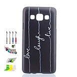 White Letter Pattern Black Matte PC Phone Case And Dust Plug Stylus Pen Stand Combination for Samsung Galaxy A3