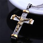 Stereoscopic Jesus Cross Titanium-Steel Pendant(Gold)(1Pc)
