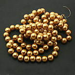 Beadia 2 Str(approx 230pcs) Glass Beads 8mm Round Imitation Pearl Beads Brown Color DIY Spacer Loose Beads