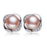 Z&X® 925 Silver Plated Elegant Fresh Water Pearl Flower Stud Earrings Wedding/Party/Daily