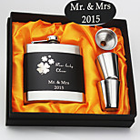 Personalized Gift 6 oz Black Four Lucky Clover  Design Stainless Steel Hip Flask 4 Piece Set