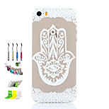 Finger Flower Pattern Thin Transparent Hollow PC Phone Case And Dust Plug Stylus Pen Stand Combination for iPhone 5/5S