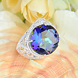 Family Gift Round Fire Rainbow Mystic Topaz Gem 925 Silver Statement Flower Rings For Wedding Party Daily Casual 1pc