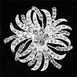 Vintage Women Clear Crystal Leaf Wedding Brooch