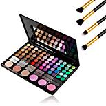 78 Colors Pro Cosmetic Makeup Pigment Kit Eye Shadow Blush Palette +4PCS Pencil Makeup Brush