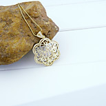 18K Golden Plated Allah Muslim Islamic Zircon Micro-Inclosed Sunflower Hollow Out Pendant