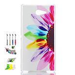 motif semi de fleurs cas matériel pc mat transparent de téléphone et la prise de poussière stylet tiennent combinaison pour Sony m2