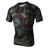 Super Fit Fasion Bright Camoulage Color High Elastic Fitness Runing and Cycling T-Shirt