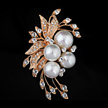 Fashionable Nature Mother of pearl Shell Bead Rhinestone Flower Brooch(White /Black/Golden)