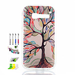 Colored Trees Pattern Painted Soft Phone Case And Dust Plug Stylus Pen Stand Combination for Alcatel C5