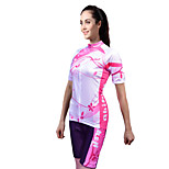 Quirell Women's Wicking Polyester Short Sleeve Cycling Suits-Pink