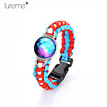 Lureme®Europestyle Brief Sky Blue Intertwine  Red White Weave Parachute Cord Blue Starry Sky Time Gem  Alloy Bracelet