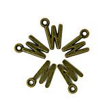 Beadia 100PCS Alphabet Letter W  8x16mm Antique Bronze Alloy Charms Pendants DIY Accessories