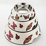 Schmetterlingsdruck Melamin Schüssel mit Edelstahl-Hundeschüssel für Hunde&Katzen (verschiedene Farben)