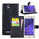 Litchi Around Open Bracket Leather Phone Wallet Card Suitable for Sony Xperia C3(Assorted Color)