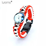 Lureme® Europestyle Brief Red Intertwine  Black White Weave Parachute Cord Two White Wolf Time Gem Alloy Bracelet