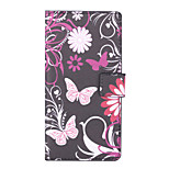 Pink Butterly Pattern PU Leather Full Body Case with Stand and Card Slot for Sony Xperia C4