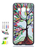 Colored Trees Pattern Black Matte PC Phone Case And Dust Plug Stylus Pen Stand Combination for Samsung Galaxy A3