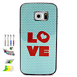 LOVE Pattern Combo Material Phone Case And Support Dust Plug Stylus Pen for Samsung Galaxy S6