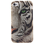 White Tiger Pattern TPU Soft Case for iPhone 4/4S