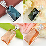 Unique Trapezoidal London Blue Topaz Morganite Gem 925 Silver Pendants for Necklaces For Wedding Party Daily 1pc