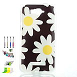 Chrysanthemum Pattern Painted Soft Phone Case And Dust Plug Stylus Pen Stand Combination for Alcatel C7