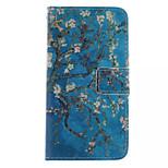tipărite în interiorul și în afara albastru model prune pu caz din piele cu suport pentru Samsung Galaxy mini s5