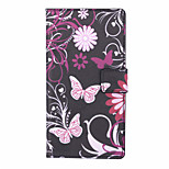 Pink Butterfly Pattern PU Leather Full Body Case with Stand and Card Slot for Huawei Honor 4C
