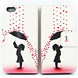 Umbrella Girl Pattern PU Leather Phone Case for iPhone 5/5S