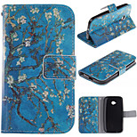 Apricot Blossom Design PU Leather Full Body Protective Case with Stand Motorola Moto E2