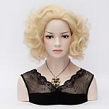 Short Curly Marilyn Monroe Pale Blonde Wigs Sexy Curl Heat Resistant Full Hair Wig