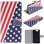 The American Flag Design PU Leather Full Body Case with Stand and Protective Film for Wiko Highway