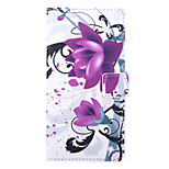 Purple Flower Pattern PU Leather Full Body Case with Stand and Card Slot for Sony Xperia C4