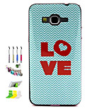 LOVE Pattern Combo Material Phone Case And Support Dust Plug Stylus Pen for Samsung Galaxy Grand Prime G530H