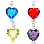 Love Gift Fire Heart Citrine Quartz Topaz Amethyst Gem 925 Silver Necklaces Pendants For Wedding Party Daily Casual 1pc
