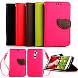 Luxury PU Leather Skin Flip Stand Case For LG G2 Mini Phone Shell Leaf Pouch Wallet Handbag+Lanyard+Card Slot
