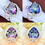 Classic Family Gift Fire Heart Rainbow Mystic Topaz Gem 925 Silver Statement Rings For Wedding Party Daily Casual 1pc
