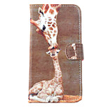 Giraffe Pattern Painted Card PU Material Phone Case for Motorola G2