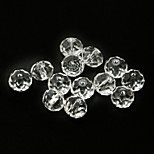 Beadia 120PCS Fashion Glass Facetted Crystal Beads 6x8mm Flat Round Shape Transparent Color DIY Spacer Loose Beads