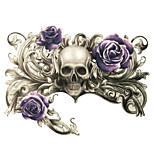 Human Skeleton Breath of Death Purple Rose Tattoo Stickers Temporary Tattoos(1 Pc)