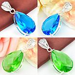 Dazzling Fire Drop Green Quartz Sky Blue Topaz Gem 925 Silver Pendants for Necklaces For Wedding Party Daily 1pc