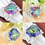 Classic Family Gift Fire Square Rainbow Mystic Topaz Gem 925 Silver Statement Rings For Wedding Party Daily Casual 1pc