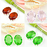 Superb Gift Oval Pink Topaz Quartz Brazil Citrine Gem 925 Silver Drop Earrings For Wedding Party Daily Holiday 1Pairs