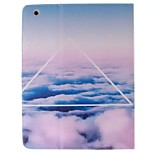 White Cloud Picture PU Leather Full Body TPU Case with Card Holder for Ipad 2 Ipad 3 Ipad 4