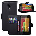 Litchi Around Open Bracket Leather Phone Wallet Card Suitable for Motorola G2(Assorted Color)